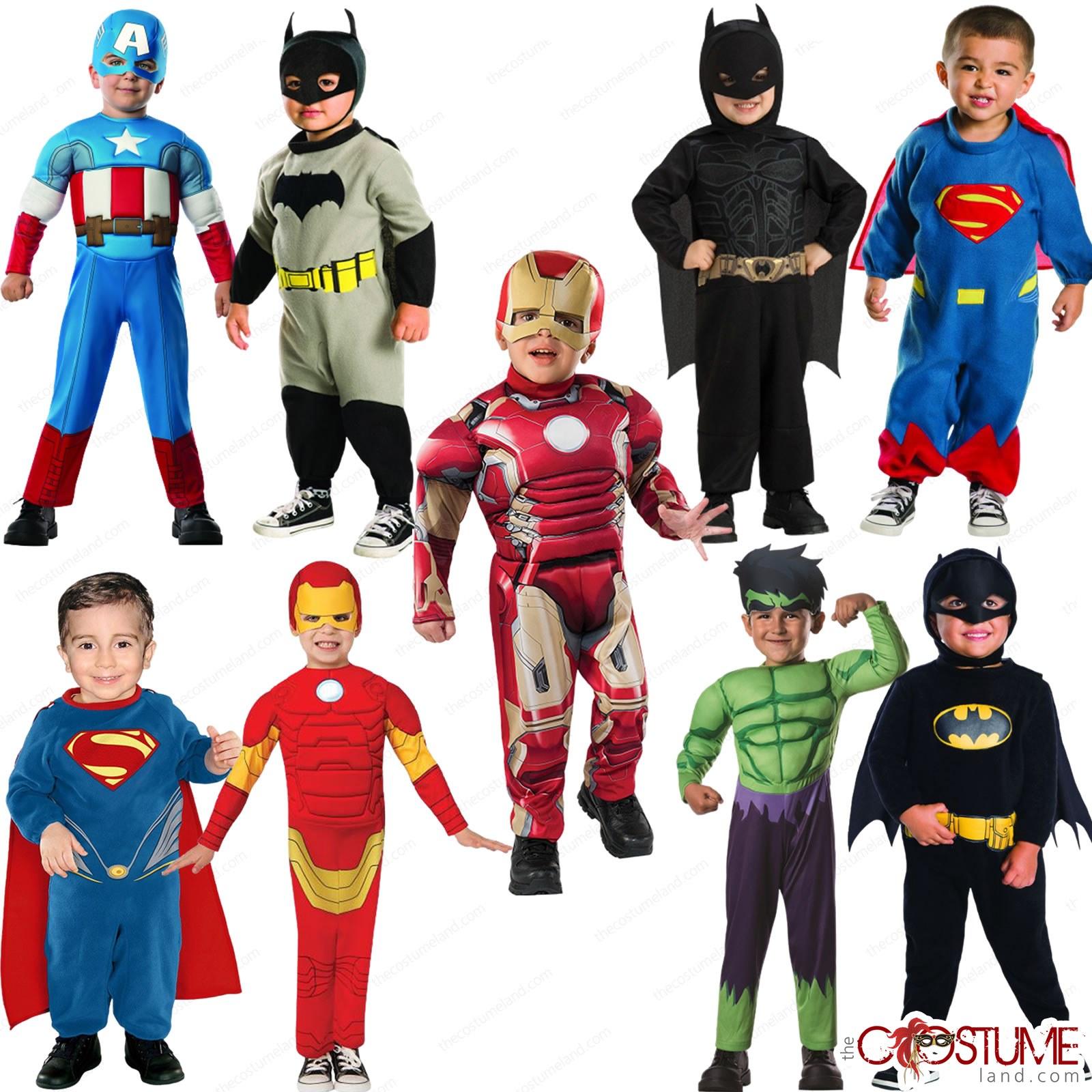 Supeman Toddler Boys Costume Batman Green Hulk Super Hero Dress Captain American