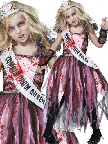CHEAP SCARY HALLOWEEN FANCY DRESS COSTUME OUTFIT ZOMBIE PROM QUEEN PARTY SASH