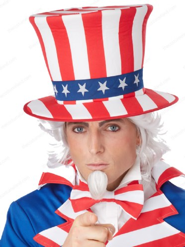 4th of July Uncle Sam Costume Accessory fnt Adult size Patriotic Top Hat