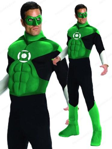 Adult Deluxe Superhero Green Lantern Hal Jordon Mens Fancy Dress Costume Outfit